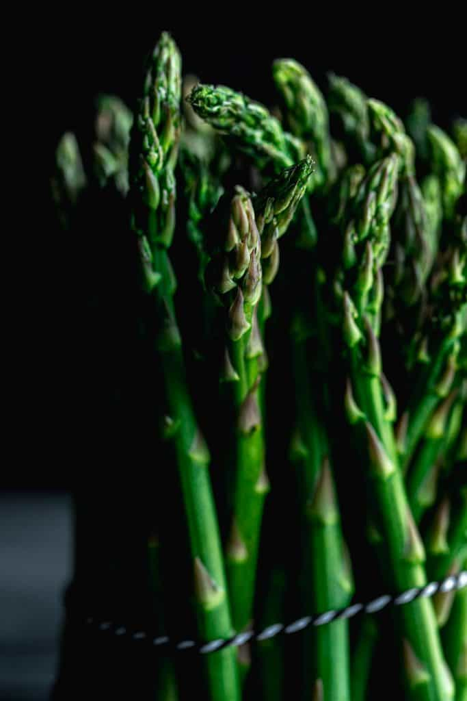 close up of a bundle of asparagus with shadows and a black background tied together by black and white twine