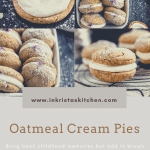 multiple pictures of oatmeal cream pies, one open face, one close up and 2 in white baking dishes lined up all topped with powdered sugar and lavender