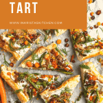 asparagus tart slices all spread out into different ways topped with roasted veggies and fresh herbs
