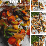 a 4 photo collage of asparagus tart with puff pastry, roasted carrots, glazed shallots and fresh herbs