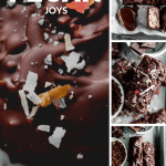 close up of a pecan joy candy bar with toasted coconut, flaky sea salt and dried rose petals on top along with overhead shots of the pecan joys and a spoon full of melted chocolate