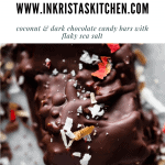 close up of a pecan joy with dark chocolate and flaky sea salt and dried rose petals