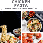 garlic chicken pasta being held up twirled on a fork over the top of the bowl, an overhead shot of garlic chicken pasta and some close ups on roasted tomatoes and garlic