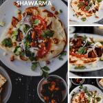 overhead shot of eggplant shawarma with tomatoes, olives, onions, cilantro, tzatziki and schug sauce and a close up of the eggplant shawarma