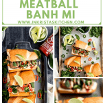 turkey meatball banh mi close up and overhead shots with lime wedges sriracha and jalapenos