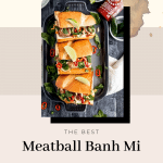 turkey meatball banh mi on a dark grey tray with sriracha bottle, limes and jalapenos