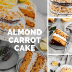 several images of almond carrot cake including the whole cake with toasted almonds on the outside and yellow roses on top and close ups of sliced pieces of the cake