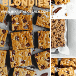 multiple photos of the best blondies cut into squares. one with a bite out of it. one of the raw dough, and 2 close ups with chocolate chunks, butterscotch chunks and flaky sea salt on top
