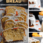 sliced orange poppy seed with yogurt glaze and dried orange flowers and an over head view and a straight on view of an unsliced loaf topped with yogurt glaze