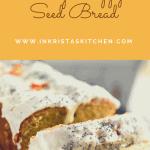 sliced orange poppy seed bread topped with a yogurt glaze, poppy seeds and dried orange flowers