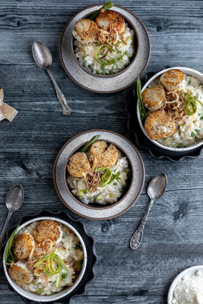 multiple bowls of risotto