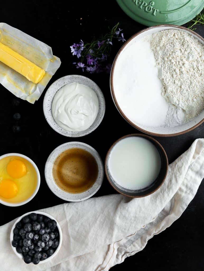 butter, flour, sugar, sour cream, blueberries, eggs, vanilla, baking powder