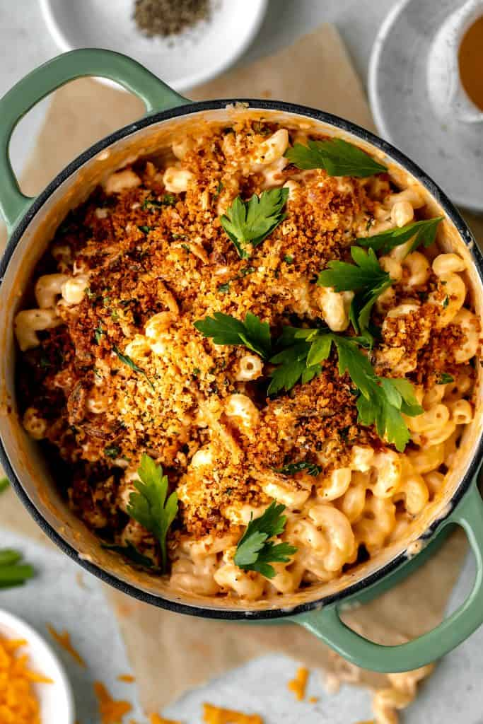 mac and cheese with herbed bread crumbs in a Dutch oven