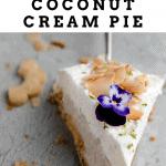 close up of one slice of coconut cream pie