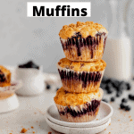 stacks of blueberry streusel muffins