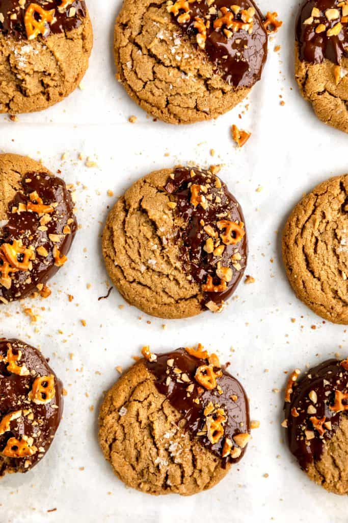chocolate peanut butter cookies lined up in rows