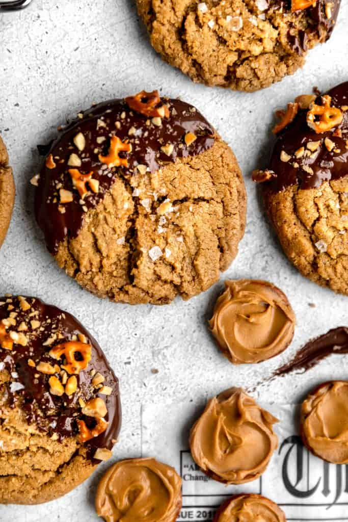 peanut butter chocolate cookies spread out on a counter