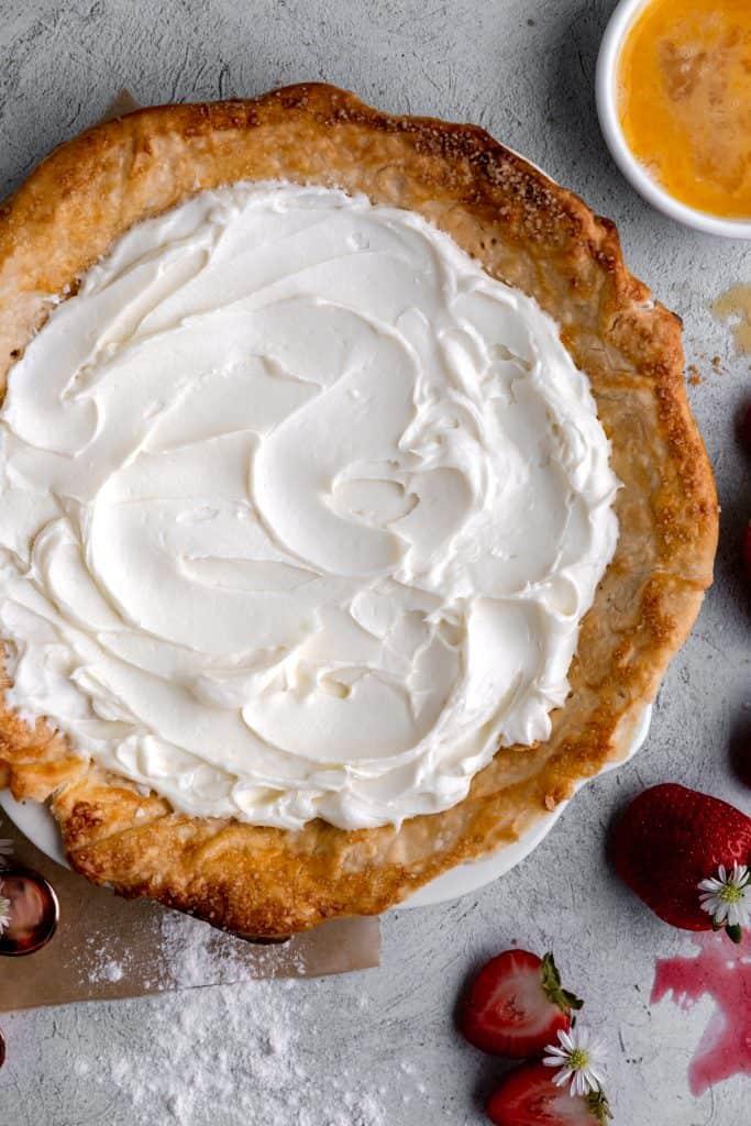 cream cheese mixture spread into the pie crust