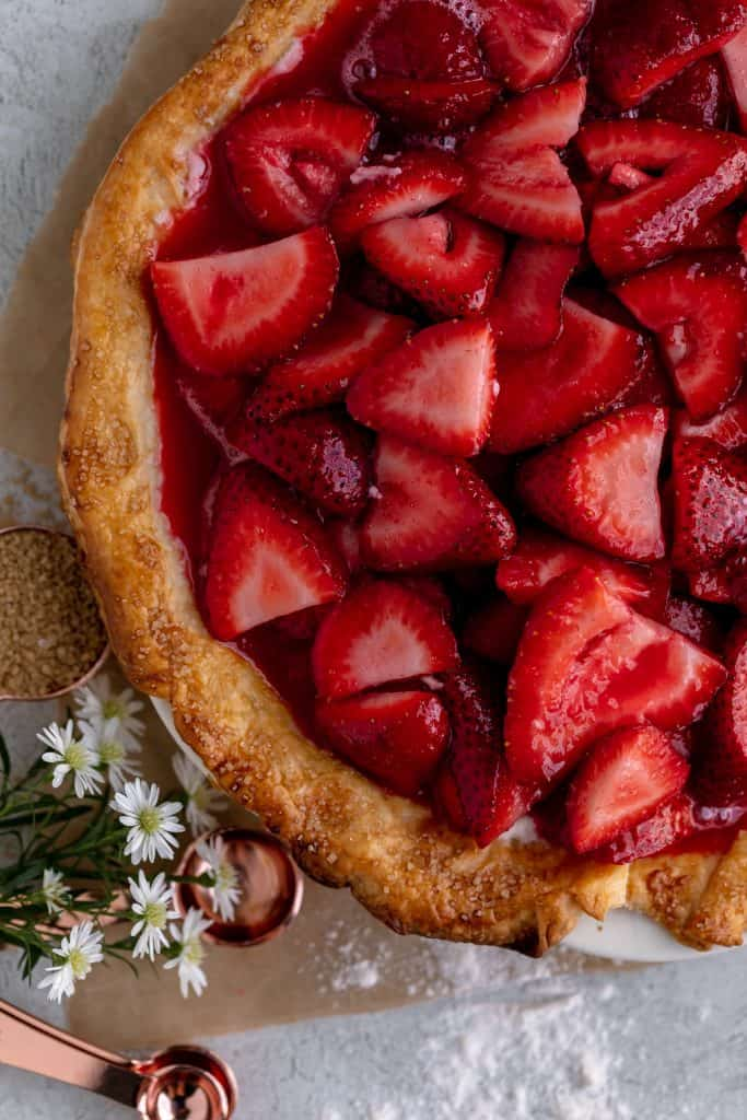 strawberry mixture poured into the pie crust over the top of the cream cheese mixture