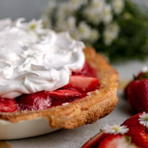 strawberry cream cheese pie topped with cool whip