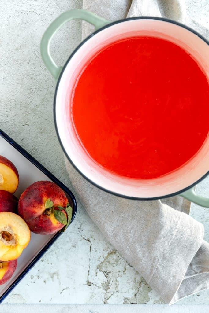 peach Jello, water, sugar and cornstarch mix