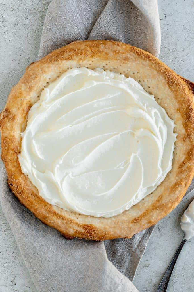 cream cheese layer added into the pie crust