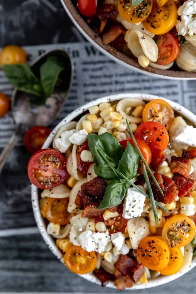 corn and bacon pasta salad with tomatoes