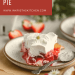 a slice of strawberry cream cheese pie that's been cut into