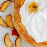 peaches and cream pie with sliced peaches lying to the side