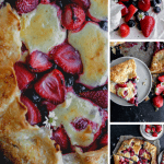 berry cheese cake galette and a close up of the berries and cheesecake batter on the dough before baking