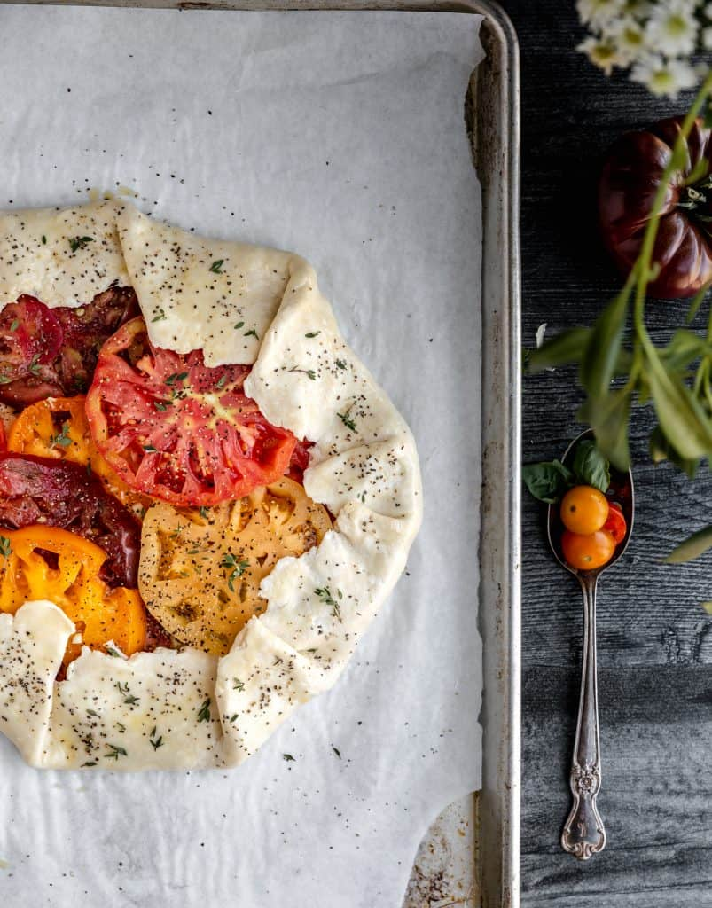 a raw galette on a sheet pan
