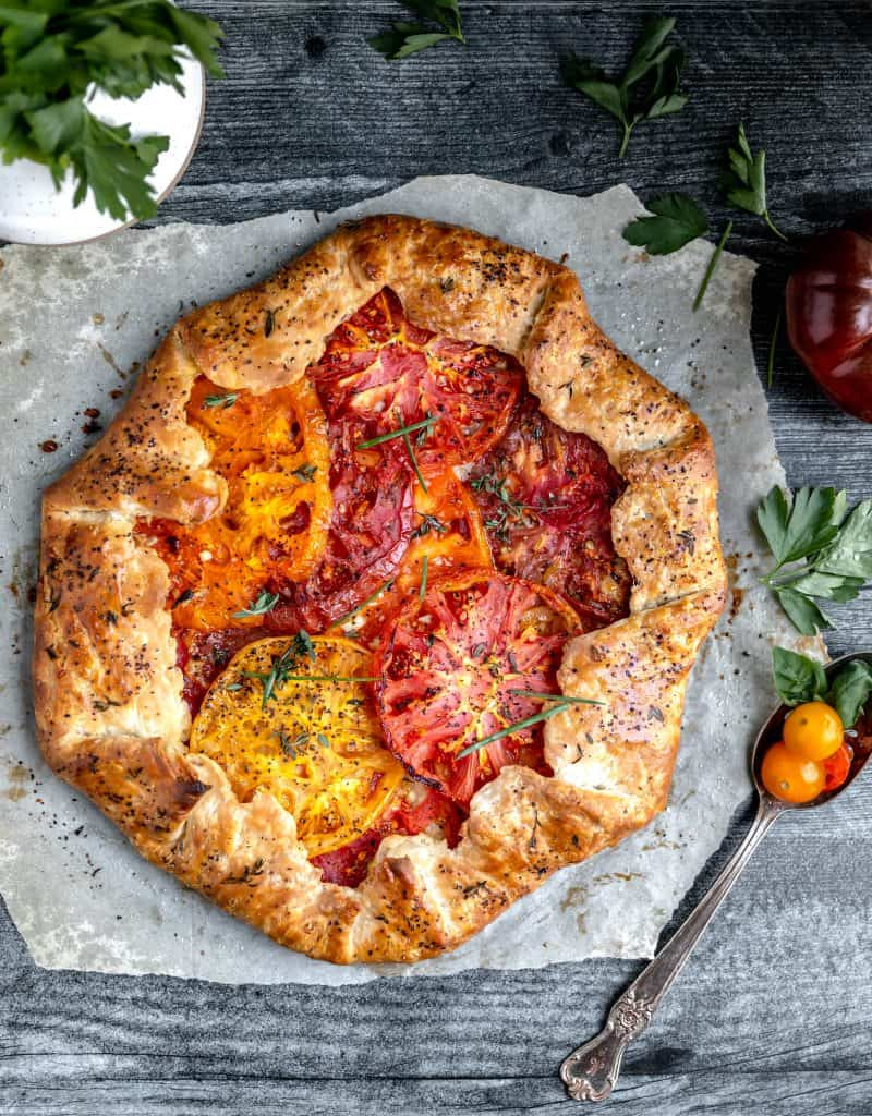 tomato galette right out of the oven