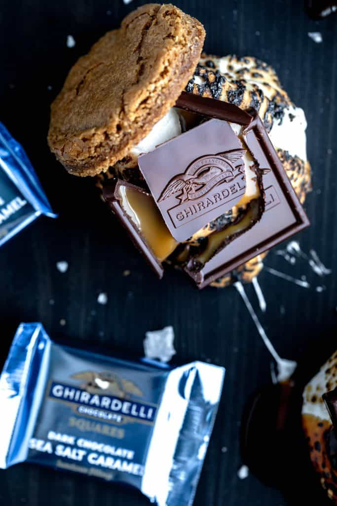 s'more topped with a cracked open dark chocolate sea salt ghirardelli square