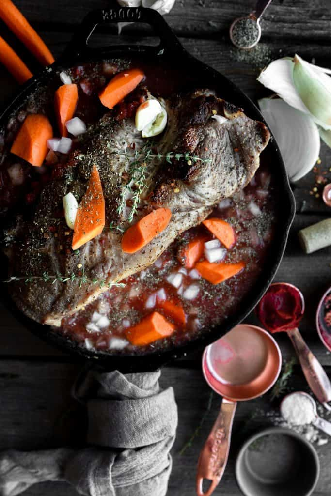 pork braising with veggie and sauce