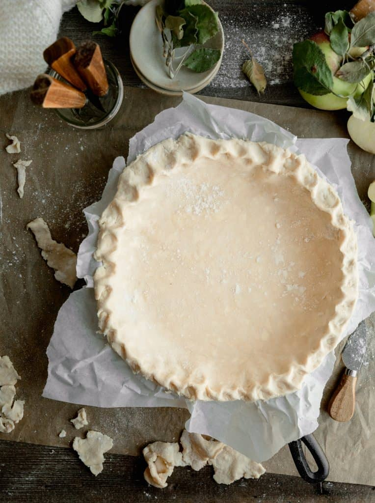 pie crust fit into the cast iron skillet