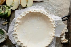 pie crust in the pan with crimped edges