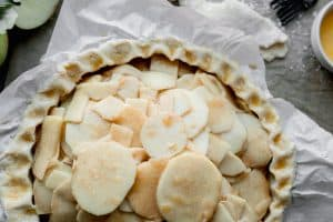 apple filling added to the pie crust