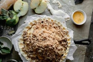 pie topped with streusel
