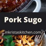 pork sugo in a pot and mixed with noodles in a bowl