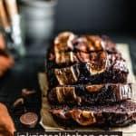 chocolate espresso banana bread loaf partially sliced